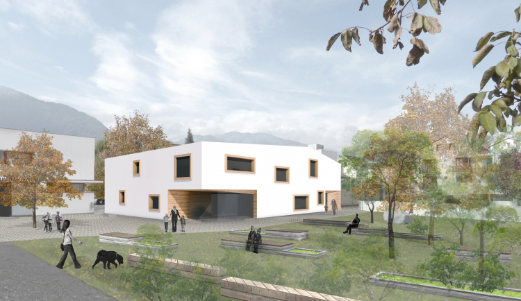 Rendering des neuen Kindergartens in Schluderns